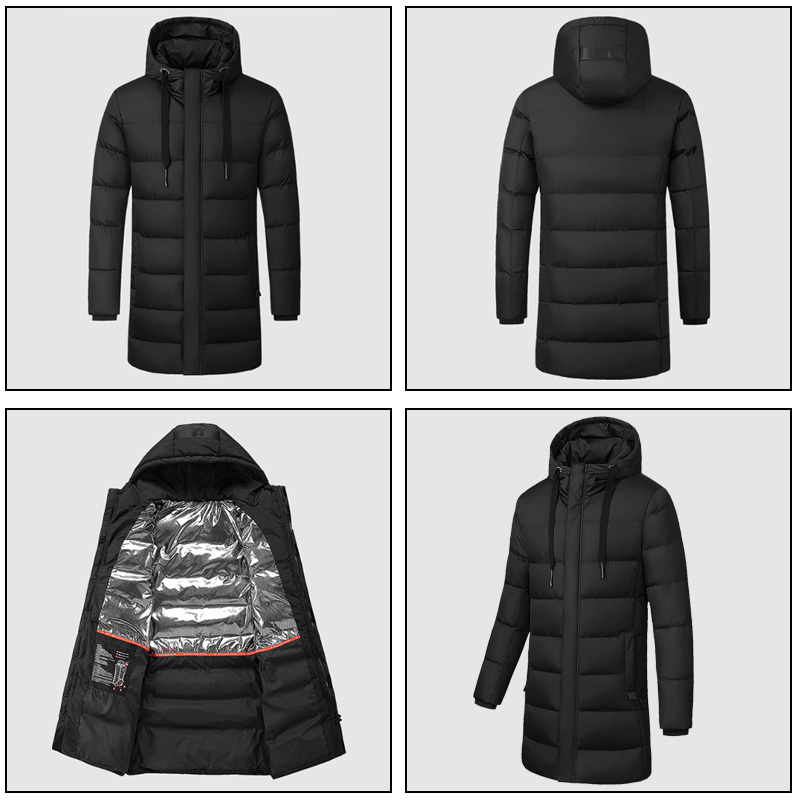TENGOO Intelligent Temperature Control Jacket Long Section USB Rechargeable Waterproof Windproof Winter Coats