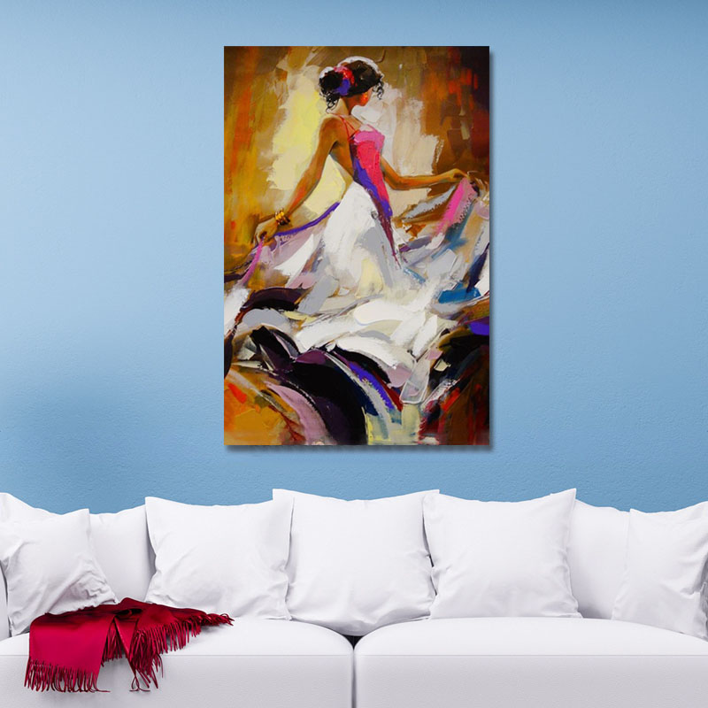 Hand Painted Oil Paintings Abstract People Modern Stretched Canvas Wall Art For Home Decoration