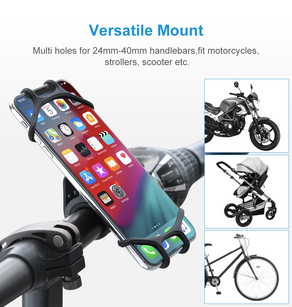 Floveme Bike Bicycle Handlebar Clamp Phone Holder 360º Rotation For 4.0-6.5 Inch Smart Phone iPhone XS Max Samsung Galaxy S10