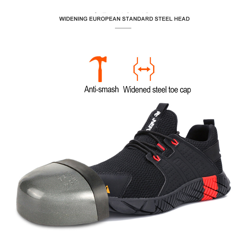AtreGo Men Steel Toe Work Shoes Safety Anti-smash Shoes Mesh Trainers Lightweight Casual Hiking Shoes