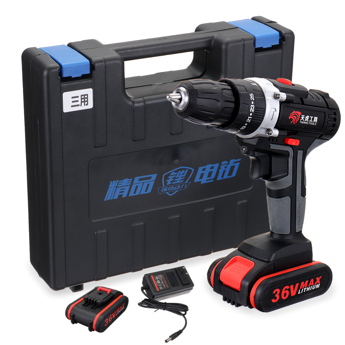 36V 3/8 Inch Cordless Electric Drill Li-ion Power Drill LED 2-Speed 25 Torque Li-ion Battery Drilling Tool