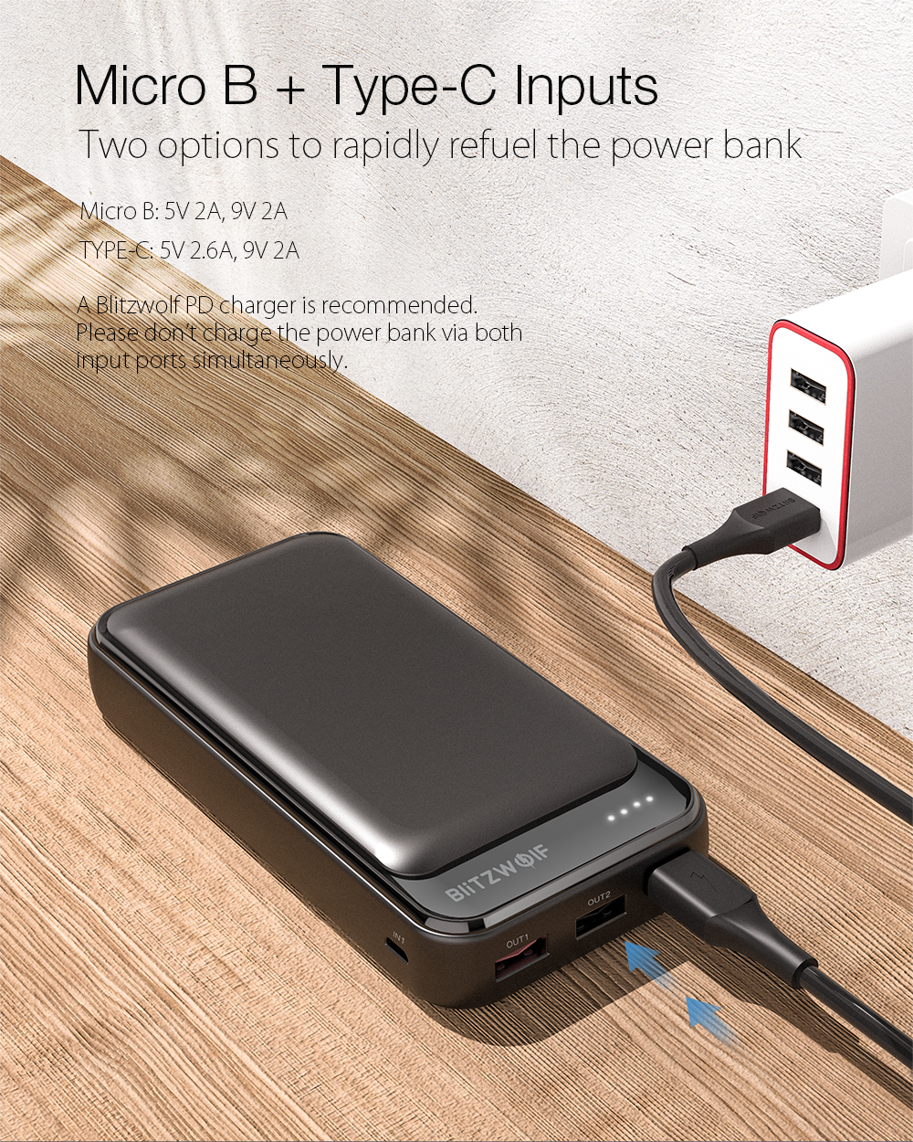 BlitzWolf® BW-P11 20000mAh 18W QC3.0 PD Power Bank External Battery Power Supply For iPhone 12 12 Mini 11 Pro Max For Samsung Galaxy Note 20 Huawei P40 Xiaomi