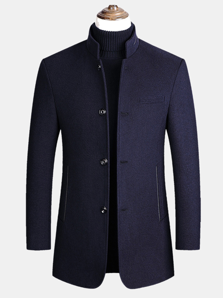 Mens Wool Blends Business Casual Trench Coats Fleece Lined Warm Wool Jackets Coats