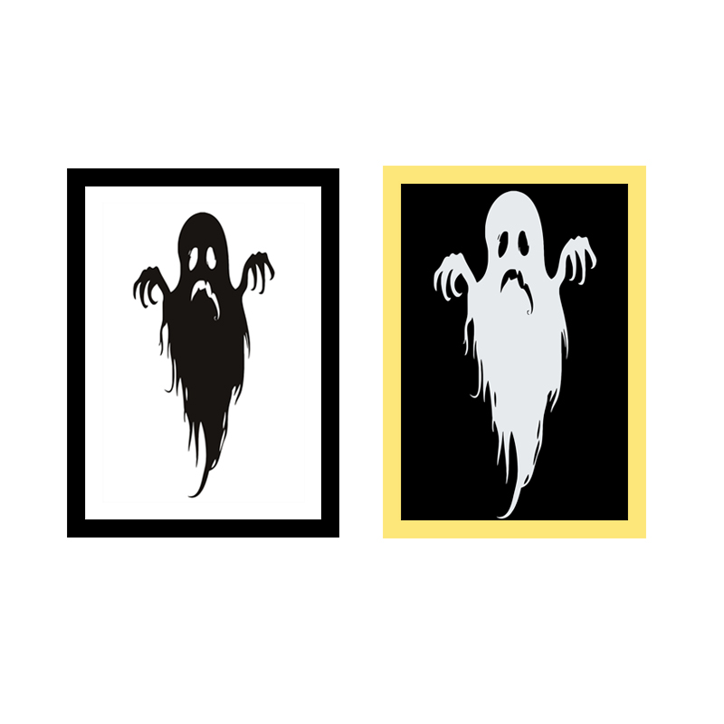 Miico Hand Painted Combination Decorative Paintings Halloween Ghost Wall Art For Home Decoration