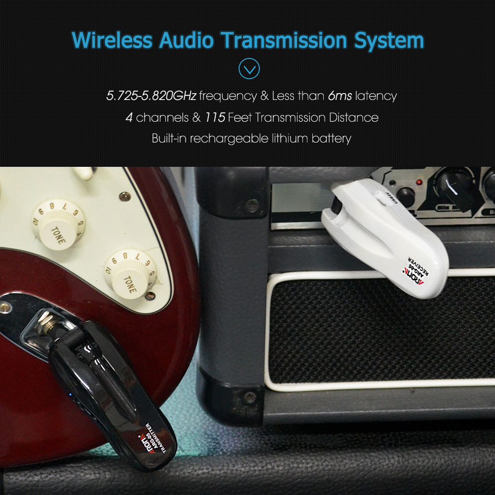 Aroma ARG-05 5.8G Wireless Guitar Audio Transmission System Transmitter Receiver Built-in Rechargeable Battery 115 Feet Transmission