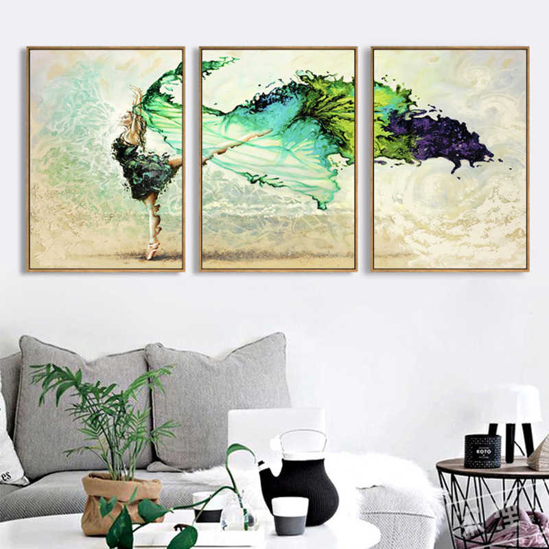 Miico Hand Painted Three Combination Decorative Paintings Dancing Youth Wall Art For Home Decoration