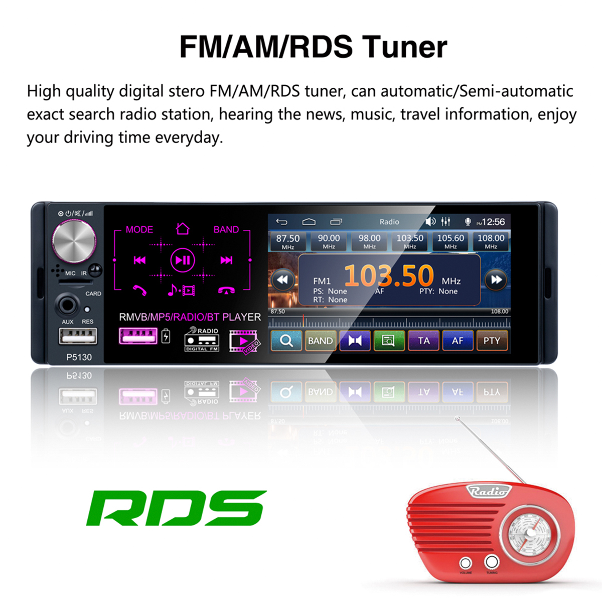 P5130 4.1 Inch 1 DIN Car Radio 1080P Touch Screen MP5 Player FM AM RDS bluetooth AUX Backup Camera with Steering Wheel Control