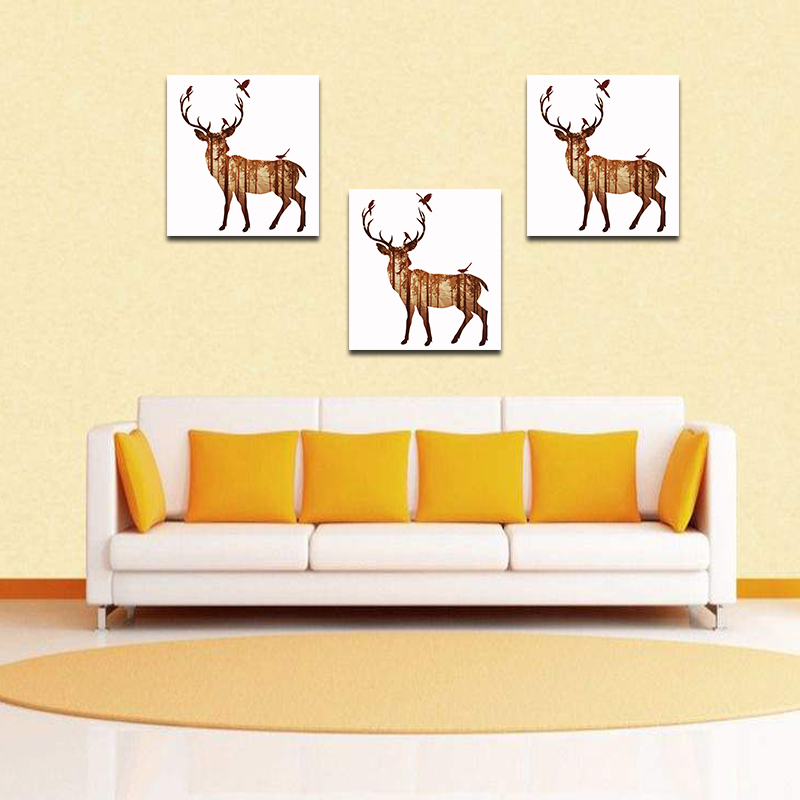Miico Hand Painted Oil Paintings Simple Style-B Side Face Deer Wall Art For Home Decoration Painting