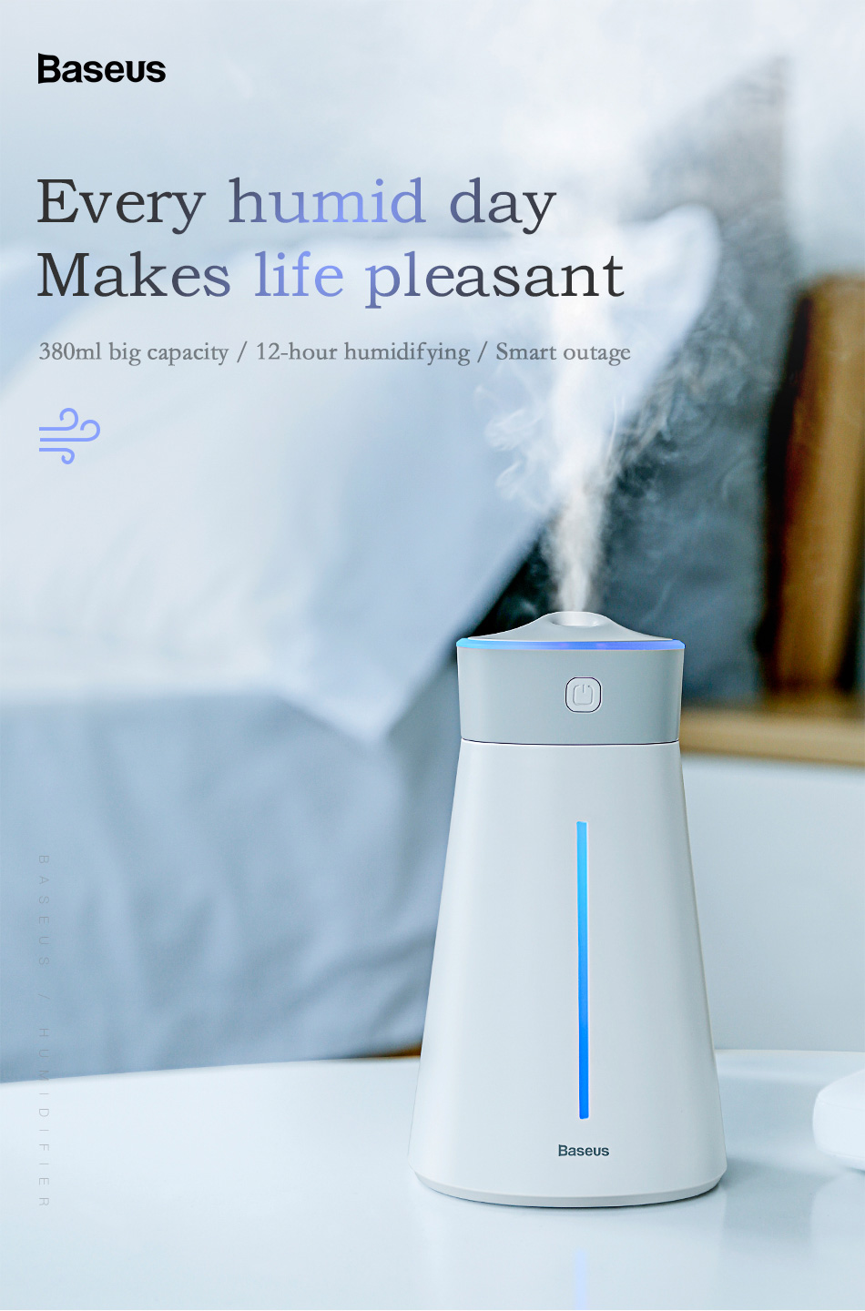 Baseus Air Humidifier Diffuser Mist Maker For Home Office Car Aroma Air Diffuser Humidifier With Colorful Lamp Light Fan