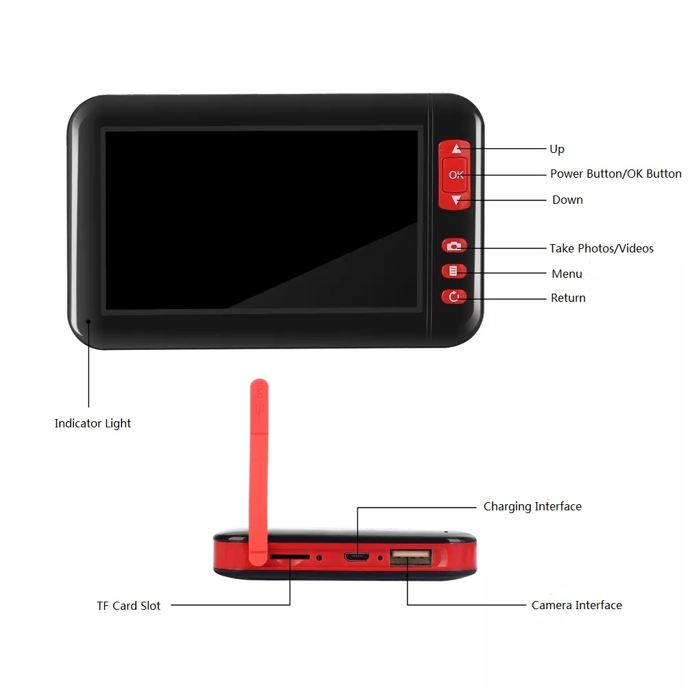 1M/2M/5M/10M 4.3-inch 8MM 1080P Color Display Screen Endoscopes 8 LED Inspection Camera Built-in 2000mAh Battery Adjust Brightness Support Take Photo/Take Video Repair Tool