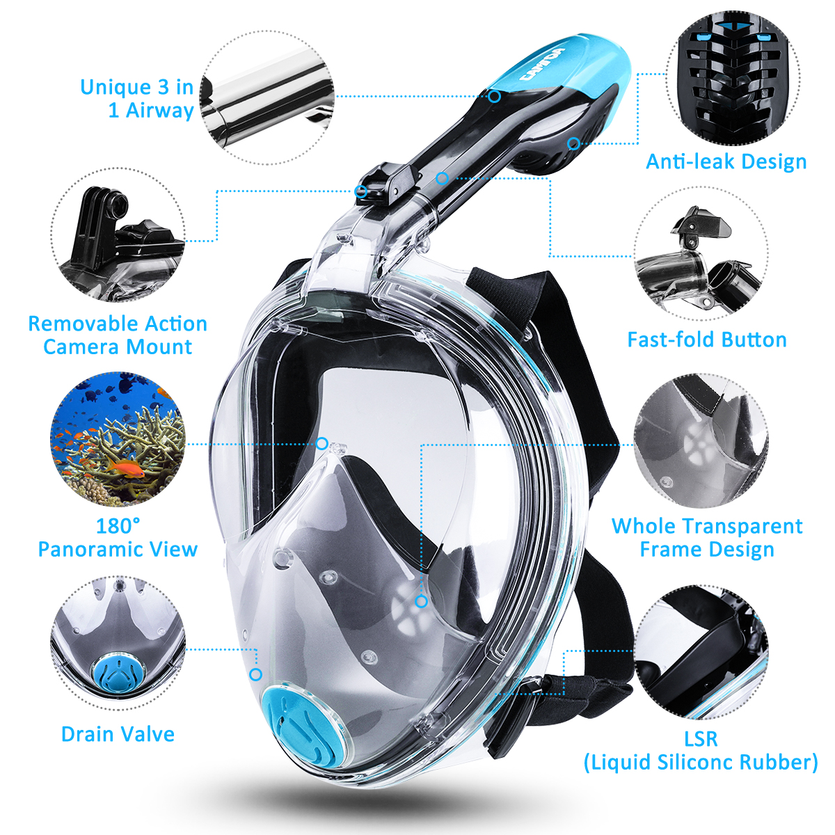Foldable Full Face Snorkeling Mask Portable Diving Mask