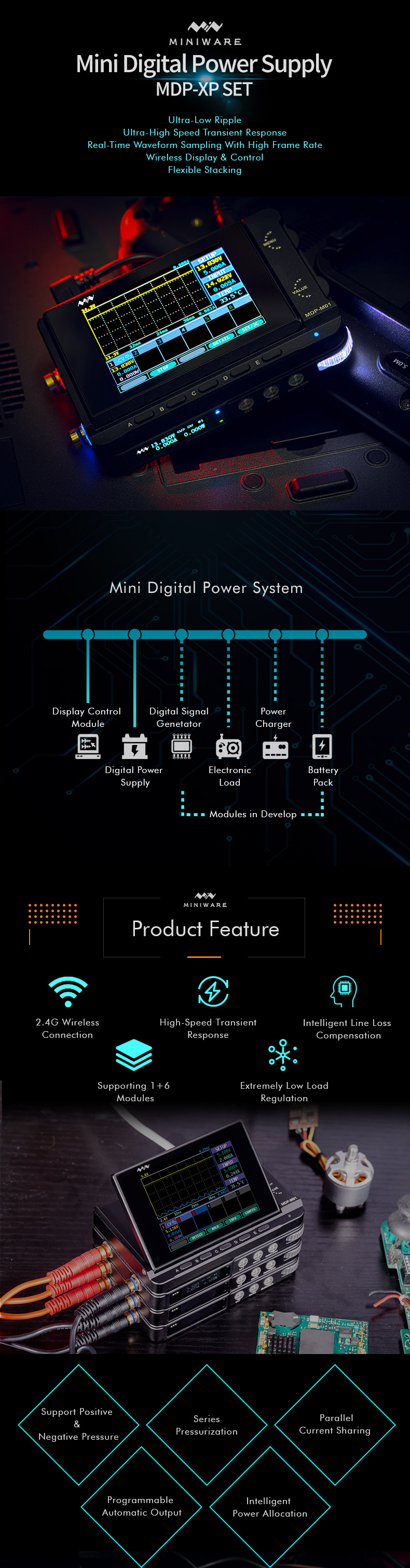 MINI MDP-XP Mini 30V/5A 90W 2.4G Wireless Connection Digital Programmable Power System with 2.8-inch TFT Screen Monitor Automatic Matching Control 6 Sub-modules