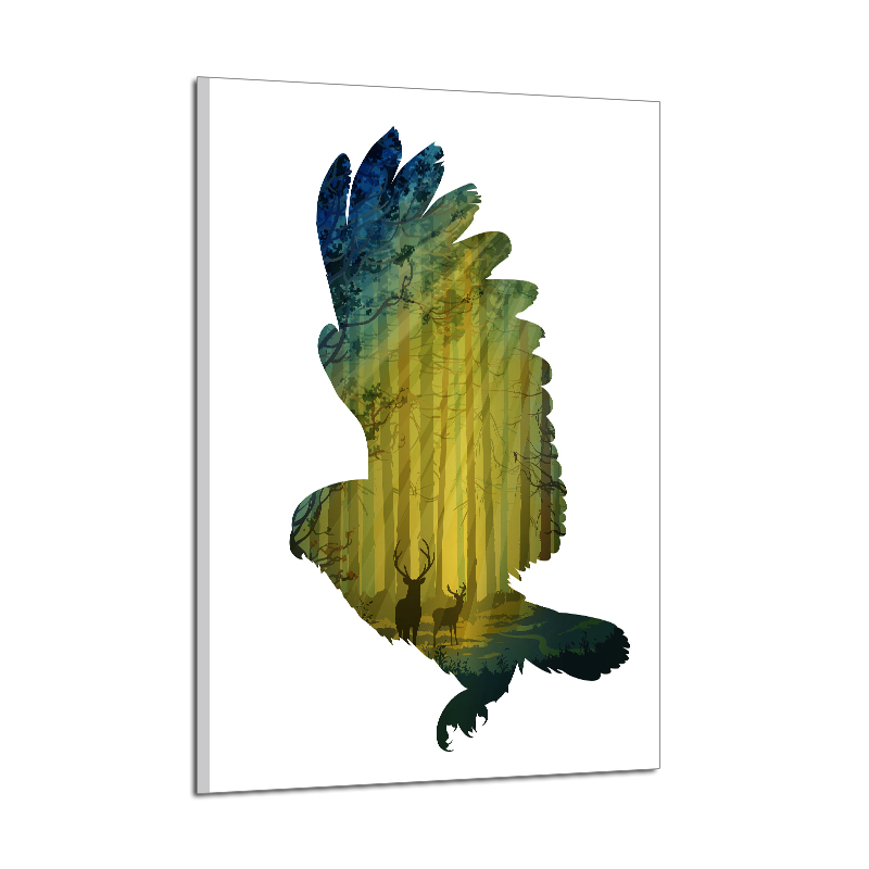 Miico Hand Painted Oil Paintings Simple Style-C Flying Owl Wall Art For Home Decoration Painting