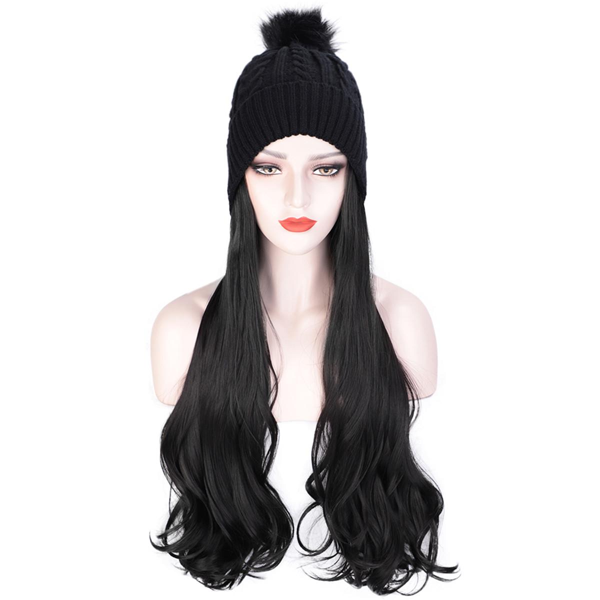 Женская шапка Парик Шапка Светлая вьющаяся длинная синтетическая девушка Волосы Winte