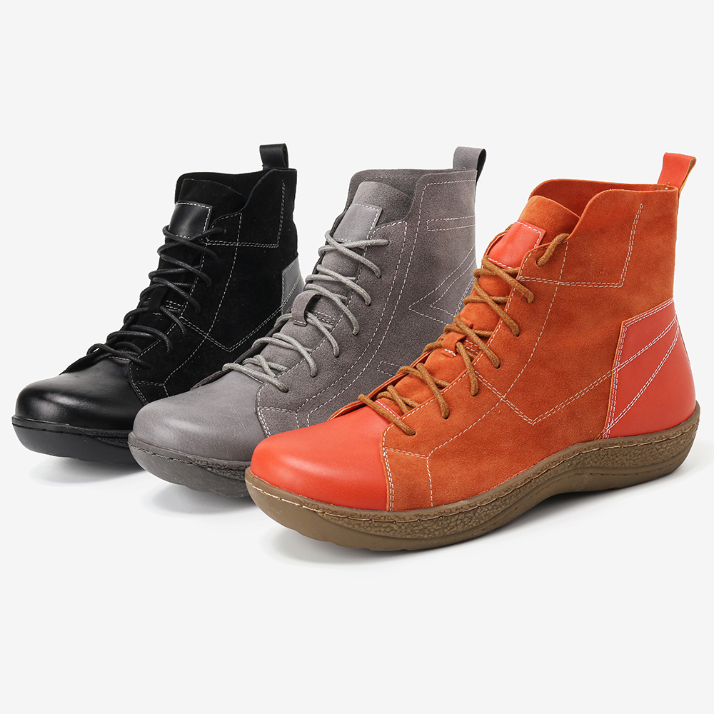 Retro Spicing Casual Lace Up Slip Resistant Ankle Boots