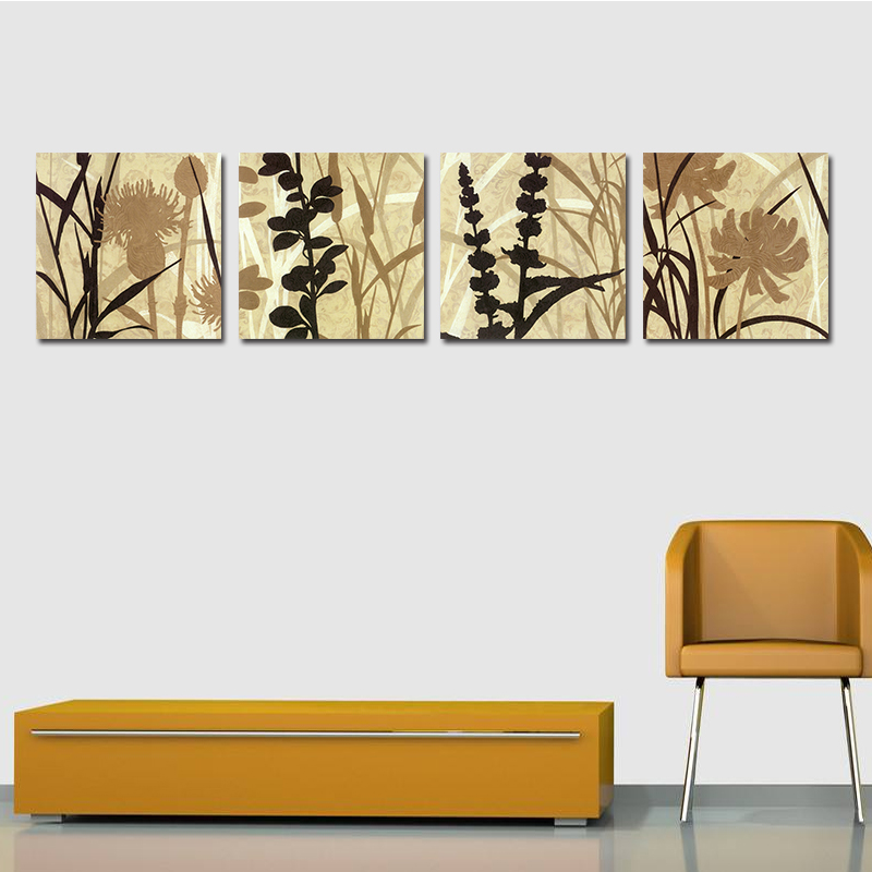 Miico Hand Painted Four Combination Decorative Paintings Botanic Grass And Flower Wall Art For Home Decoration