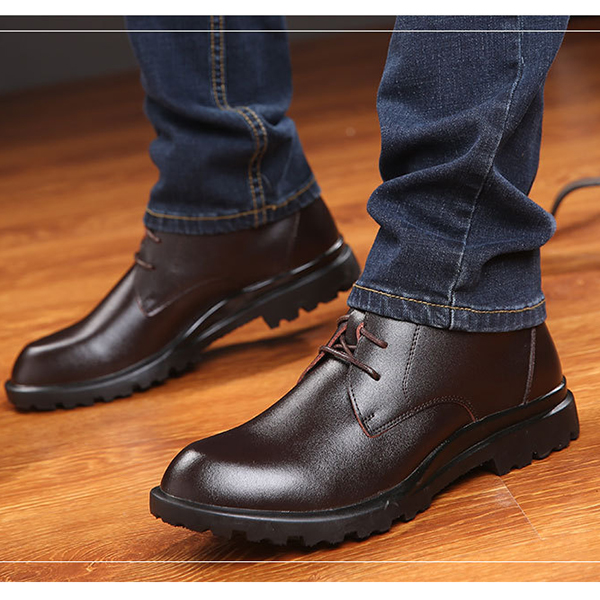 Men Cow Leather Plush Lining Non-slip Lace Up Casual Boots
