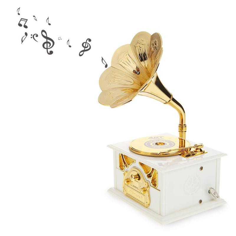 Wooden Metal Hand Crank Retro Phonograph Music Box for Kids Home Ornaments - Photo: 8