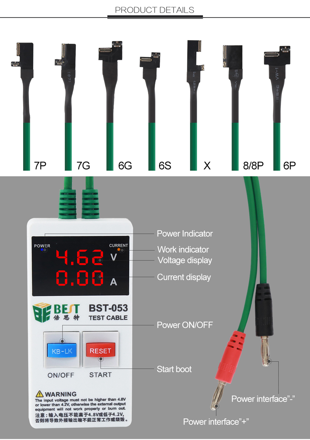 BEST-053 Power Supply Boot Line for iPhone X 8 8P 7 7P 6S 6 6P 6s Plus Test Repair Tool Mobile Phones Fast Current Protection Tools Set