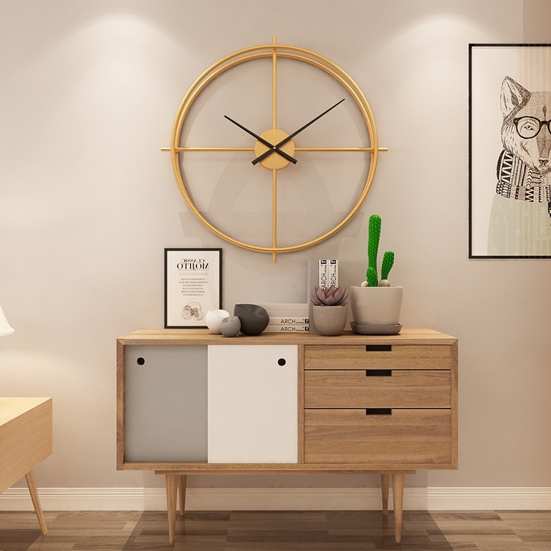 50cm Large Modern Hollow Double Ring Wall Clock Home Bedroom Bar Hotel Decor