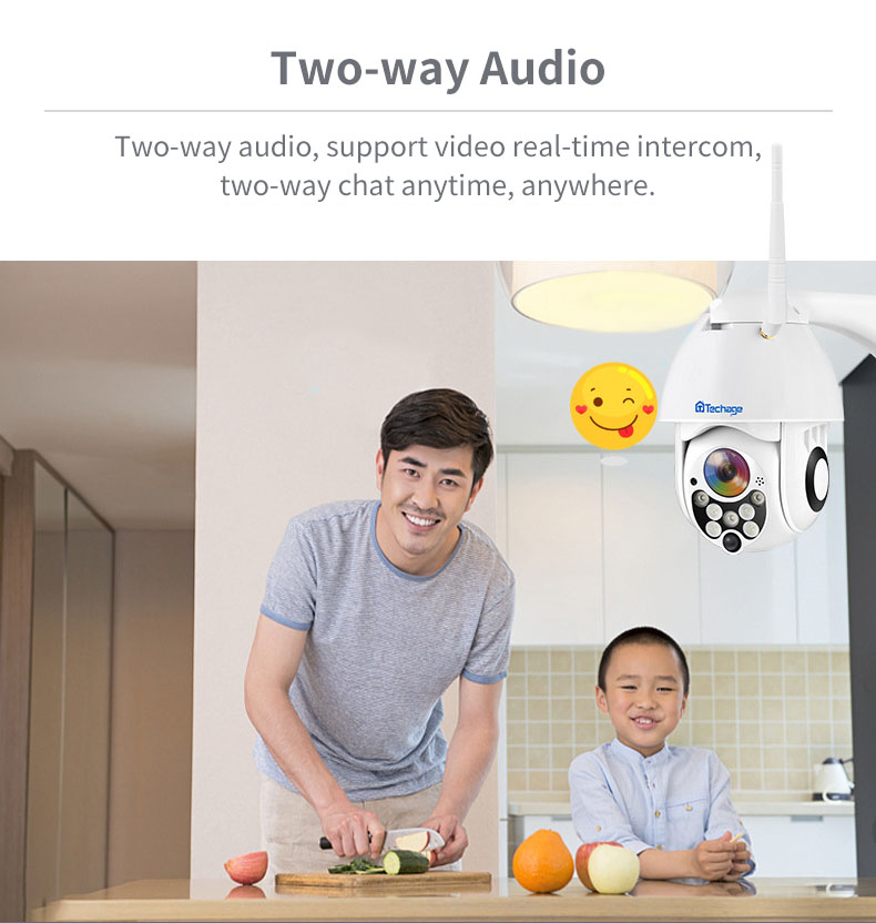 Techage PTZ09 Panoramic 1080P 8XZoom 7 LED Waterproof Wireless PT 360° IP Camera ONVIF H.264 Two Way Audio Speed Dome WIFI Camera Baby Monitors
