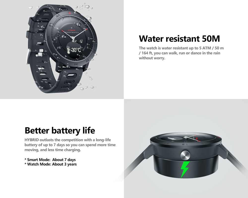 Zeblaze HYBRID Heart Rate Blood Pressure Monitor Real-time Weather Temperature Goal Reminders Dual Modes Mechanical Hands Smart Watch