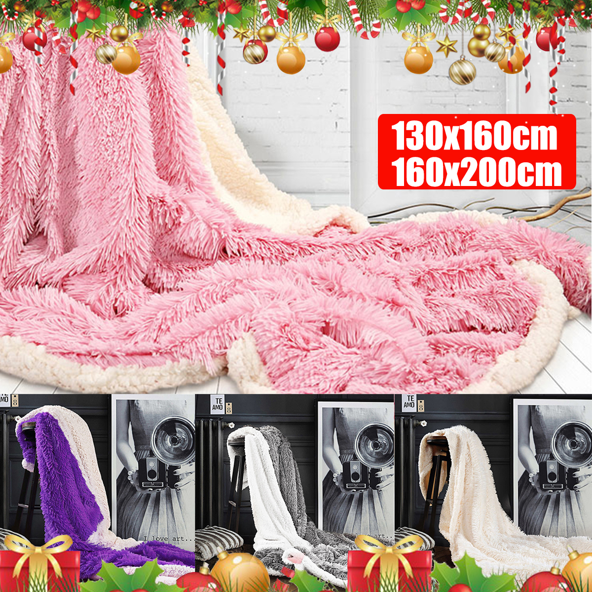 Large Soft Warm Shaggy Double Sized Fluffy Plush Blanket Throw Sofa Blankets Bed Blanket Bedding Accessories