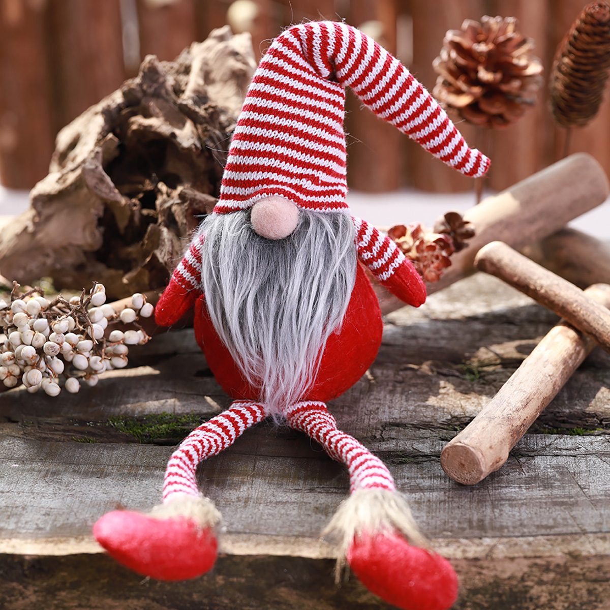 Non-Woven Hat With Long Legs Handmade Gnome Santa Christmas Figurines Ornament Decorations Toys - Photo: 4