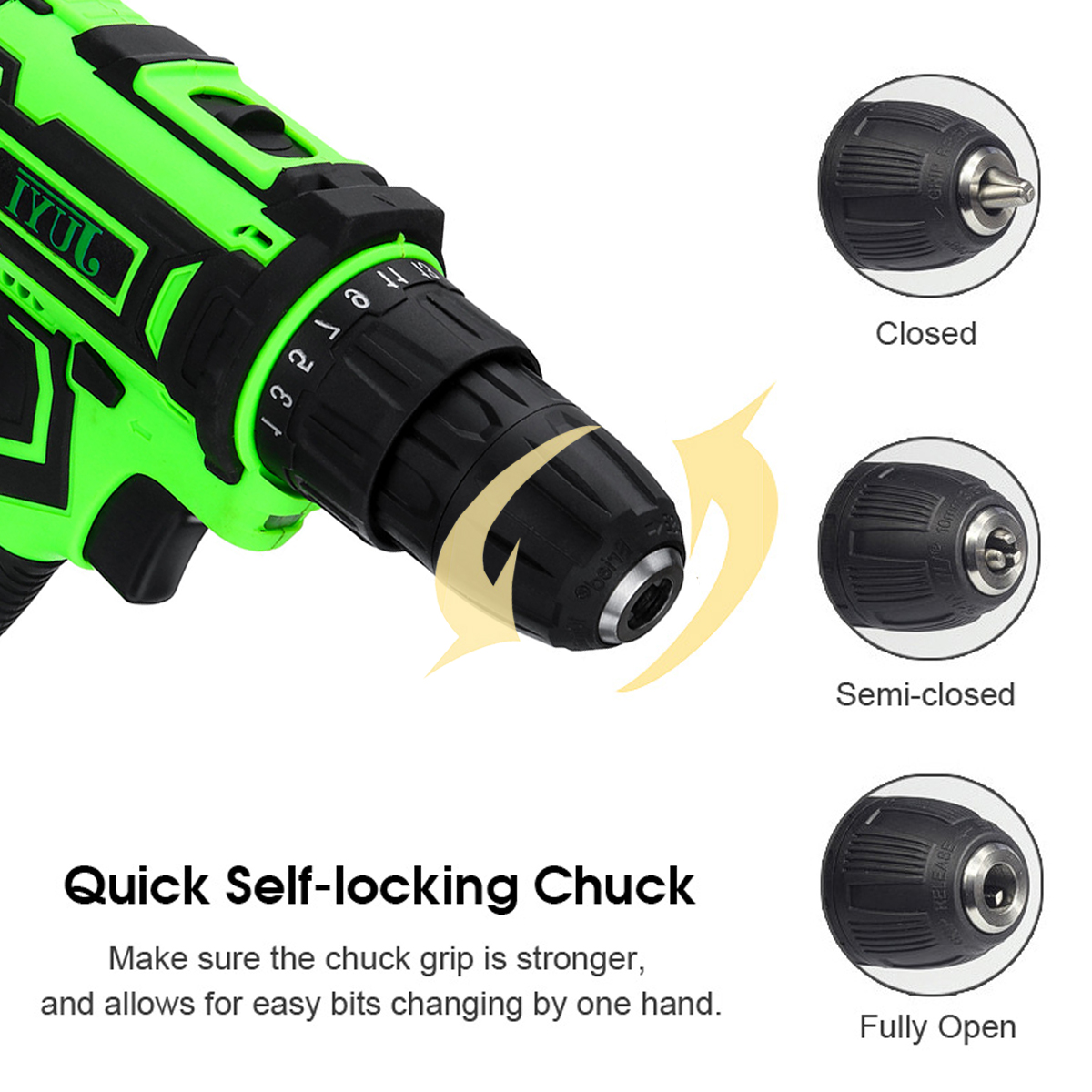 JUYI 12V/24V Lithium Battery Power Drill Cordless Rechargeable 2 Speed Electric Driver Drill