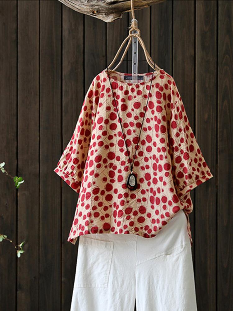 Women Polka Dot Print O-Neck HighLow 3/4 Sleeve Blouse