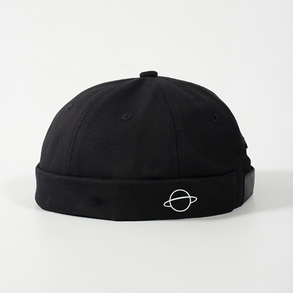 Planet Print Adjustable Solid French Brimless Hat