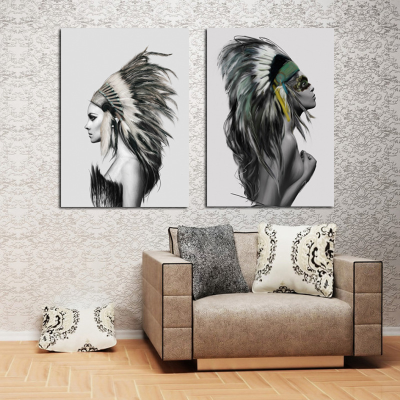 Miico Hand Painted Combination Decorative Paintings Lovers portrait Wall Art For Home Decoration