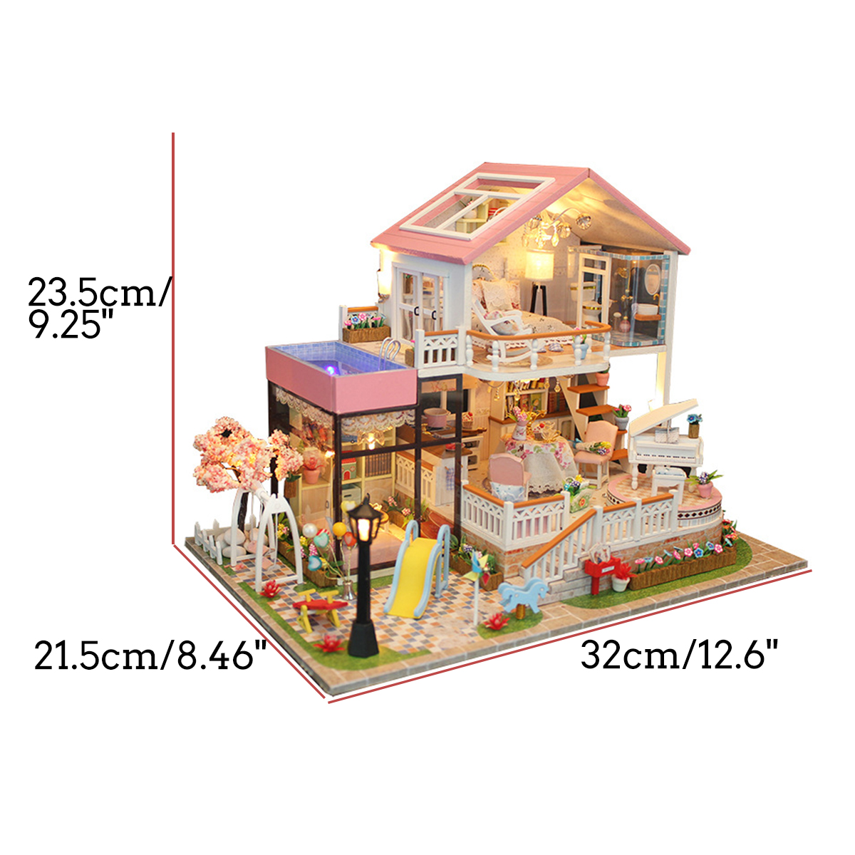 Hongda DIY Cabin Hand-assembled Doll House with LED Light Home Decor Model Toys - Photo: 12