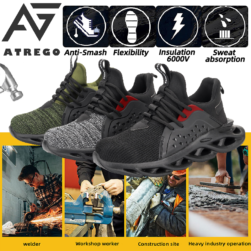 2020 New Fashion Steel Toe Sneakers Fiber Safety Shoes Breathable Steel Toe Work Shoes for Men