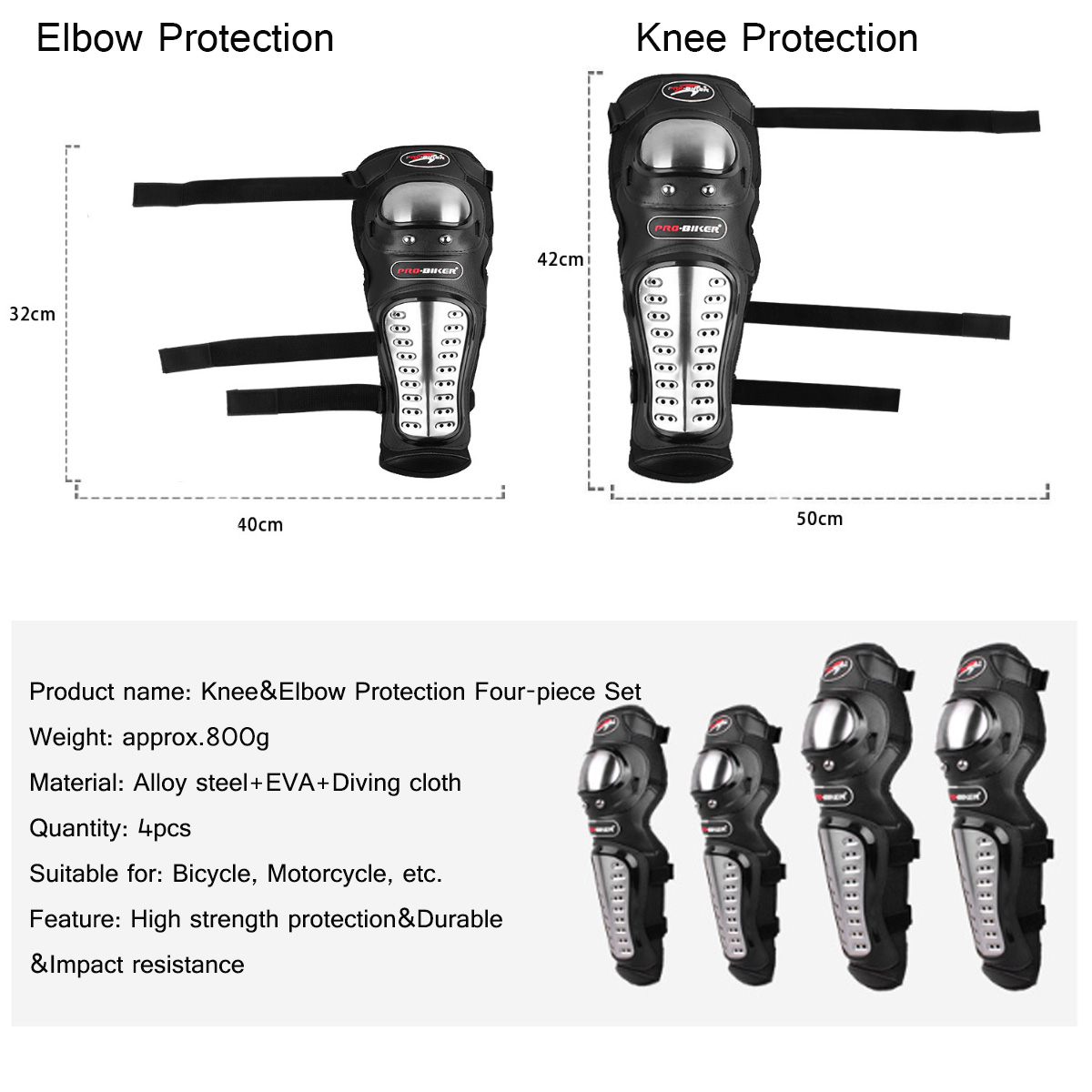 4Pcs Adults Knee Elbow Armour Motorbike Racing Protector