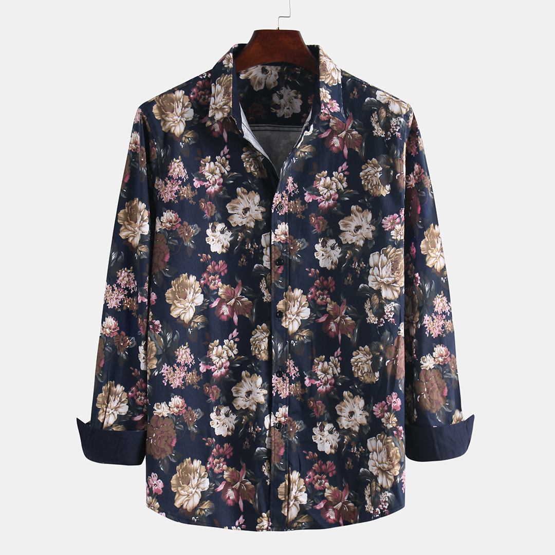 Men Printed Cotton Large Size Casual Long Sleeve Shirts
