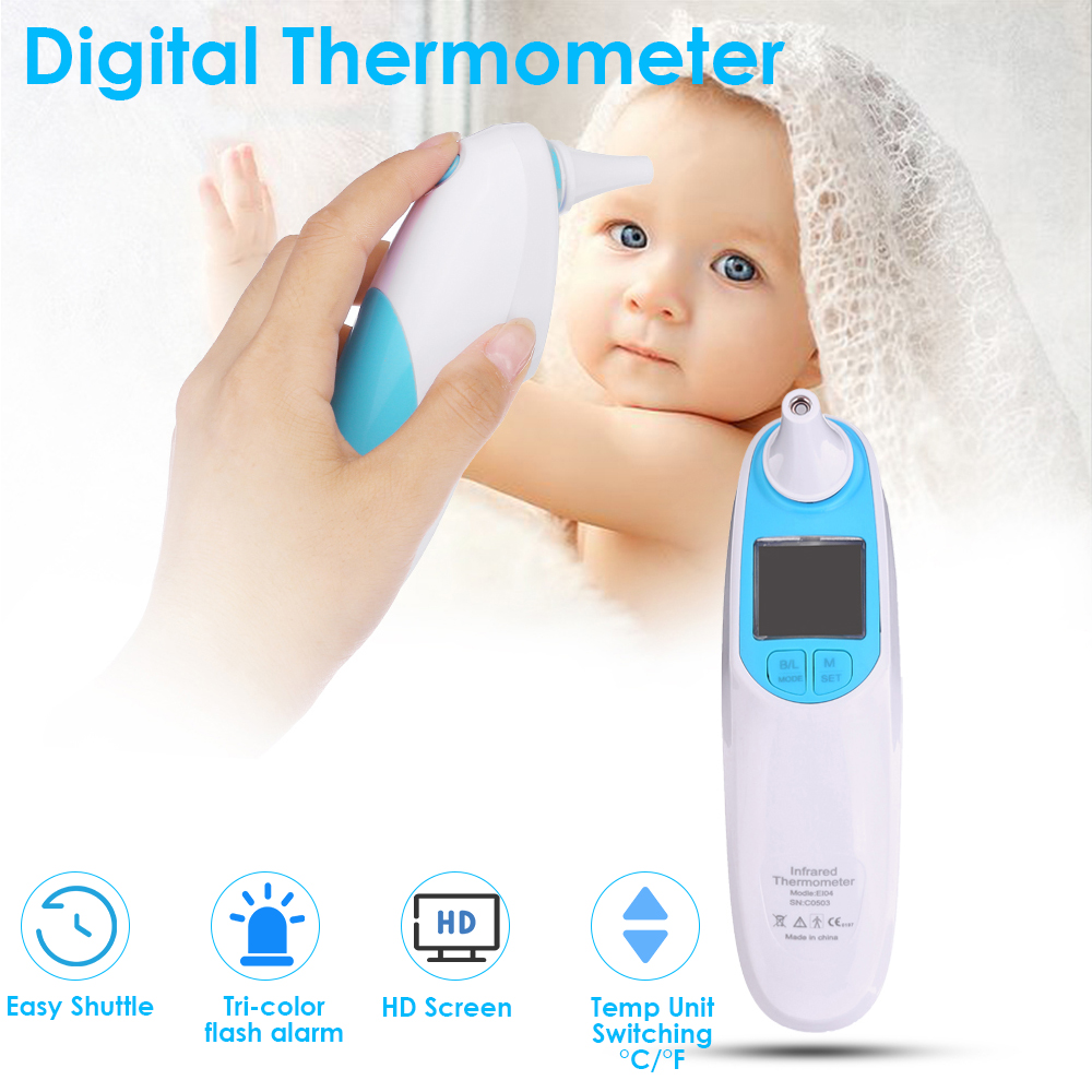 Infrared Digital Ear & Forehead Tri-color Alarm Thermometer