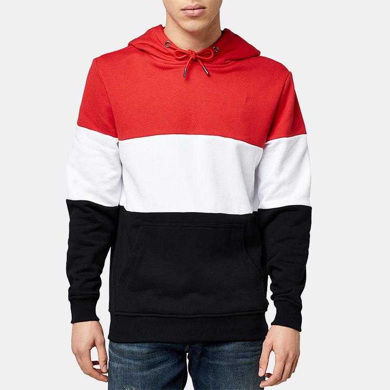 Herenmode patchwork casual sweater met capuchon en lange mouwen