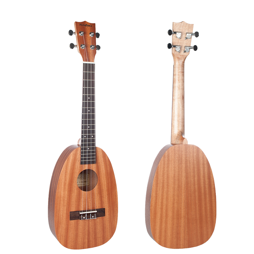 NAOMI 21/23/26 Inch 4 String Pineapple Shaped Sapele Ukulele Musical Instrument - Photo: 2