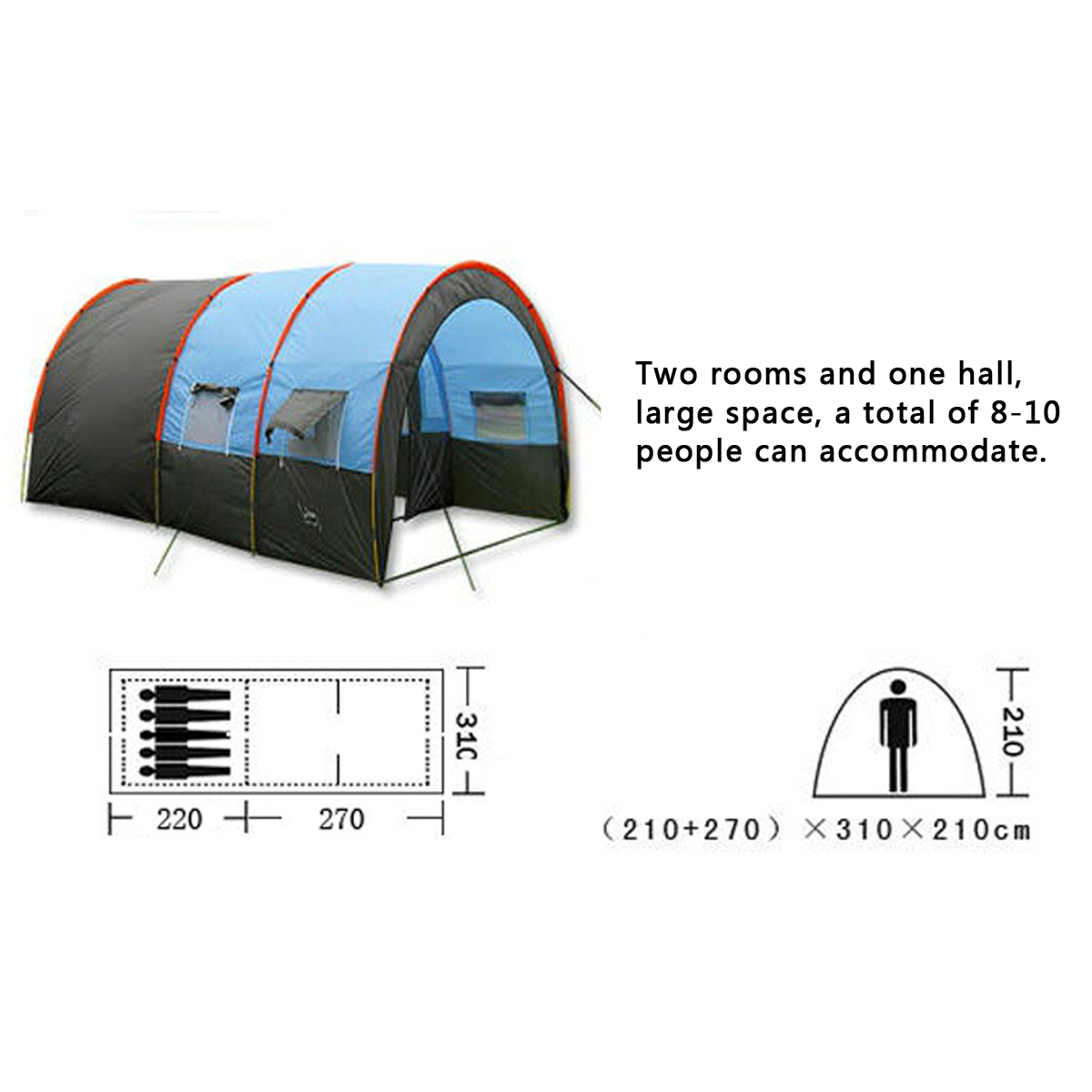 8-10 Person Big Tent Waterproof Large Room Family Tent Outdoor Camping Garden Party Sunshade Awning
