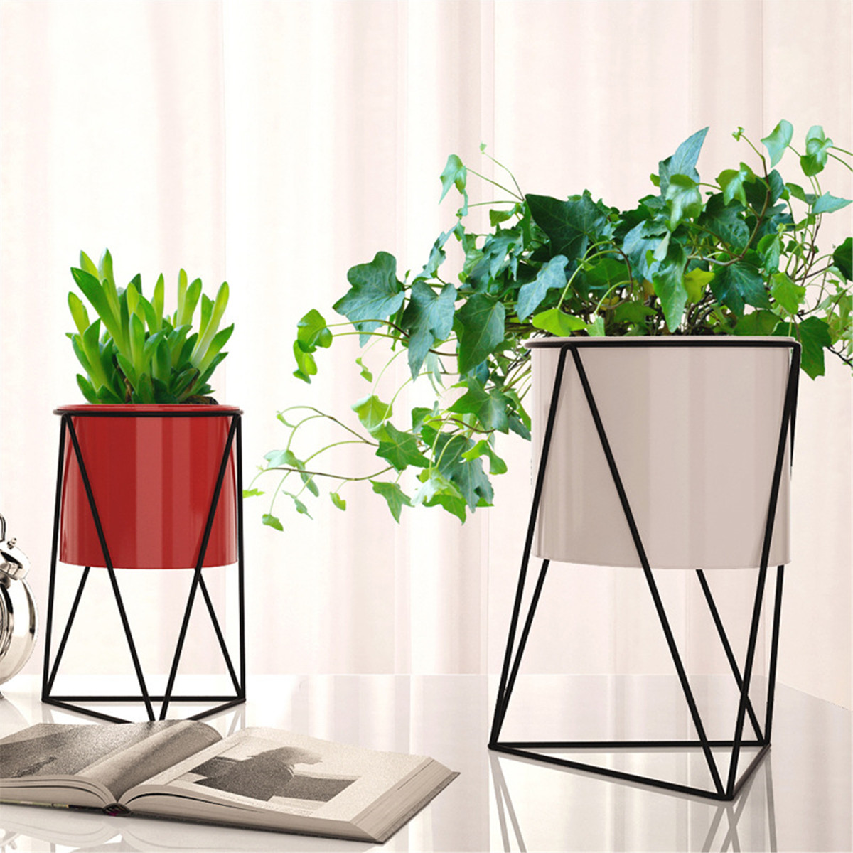 Geometric Metal Flower Pot Stand Chic Indoor Garden Plant Holder Display Planter
