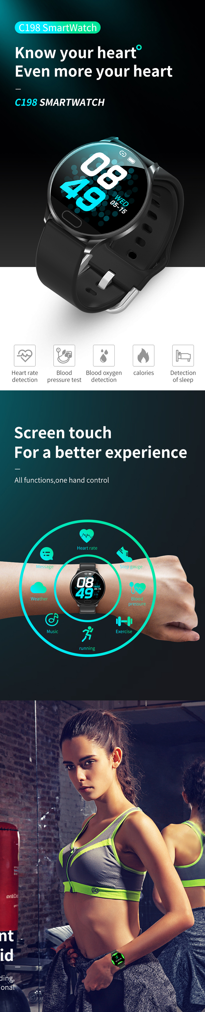 XANES® C198 1.22'' Color Touch Screen IP67 Waterproof Smart Watch BP spO2 Monitor Remote Camera Find Phone Sports Fitness Bracelet