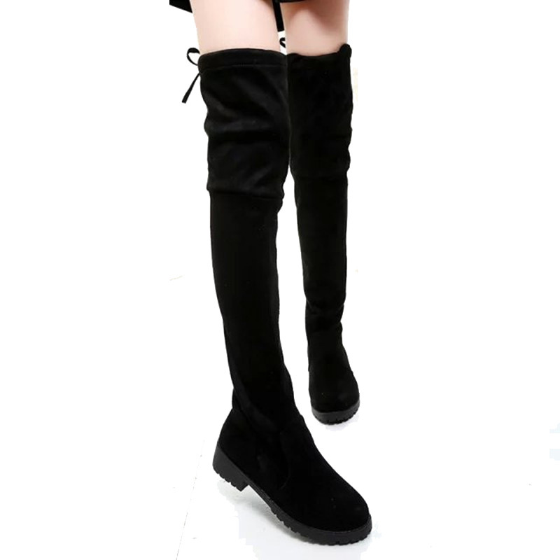 Women Solid Color Square Heel Winter Over The Knee Boots