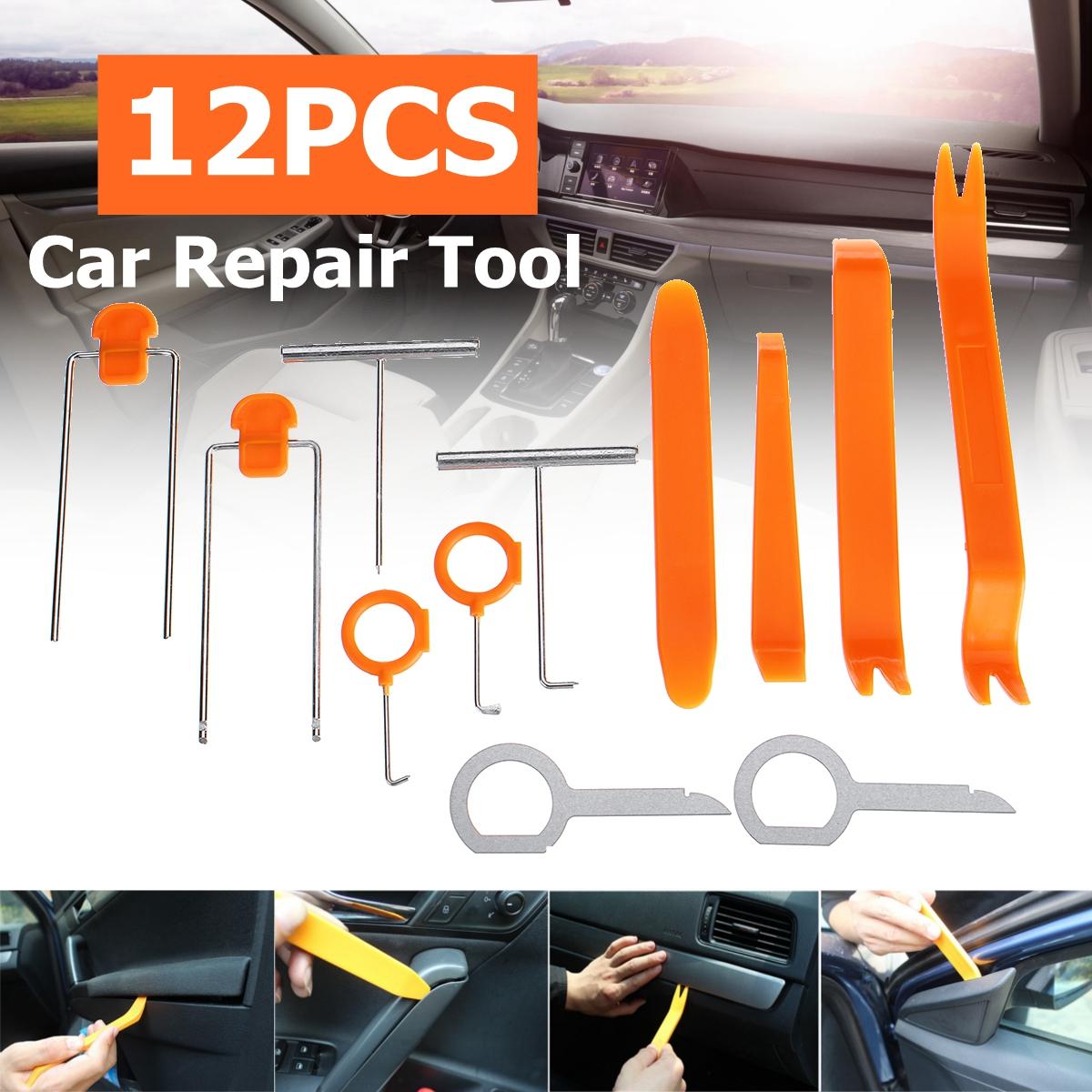 4/12pcs Auto Car Radio Door Clip Panel Trim Dash Audio Removal Installer Pry Repair Tool