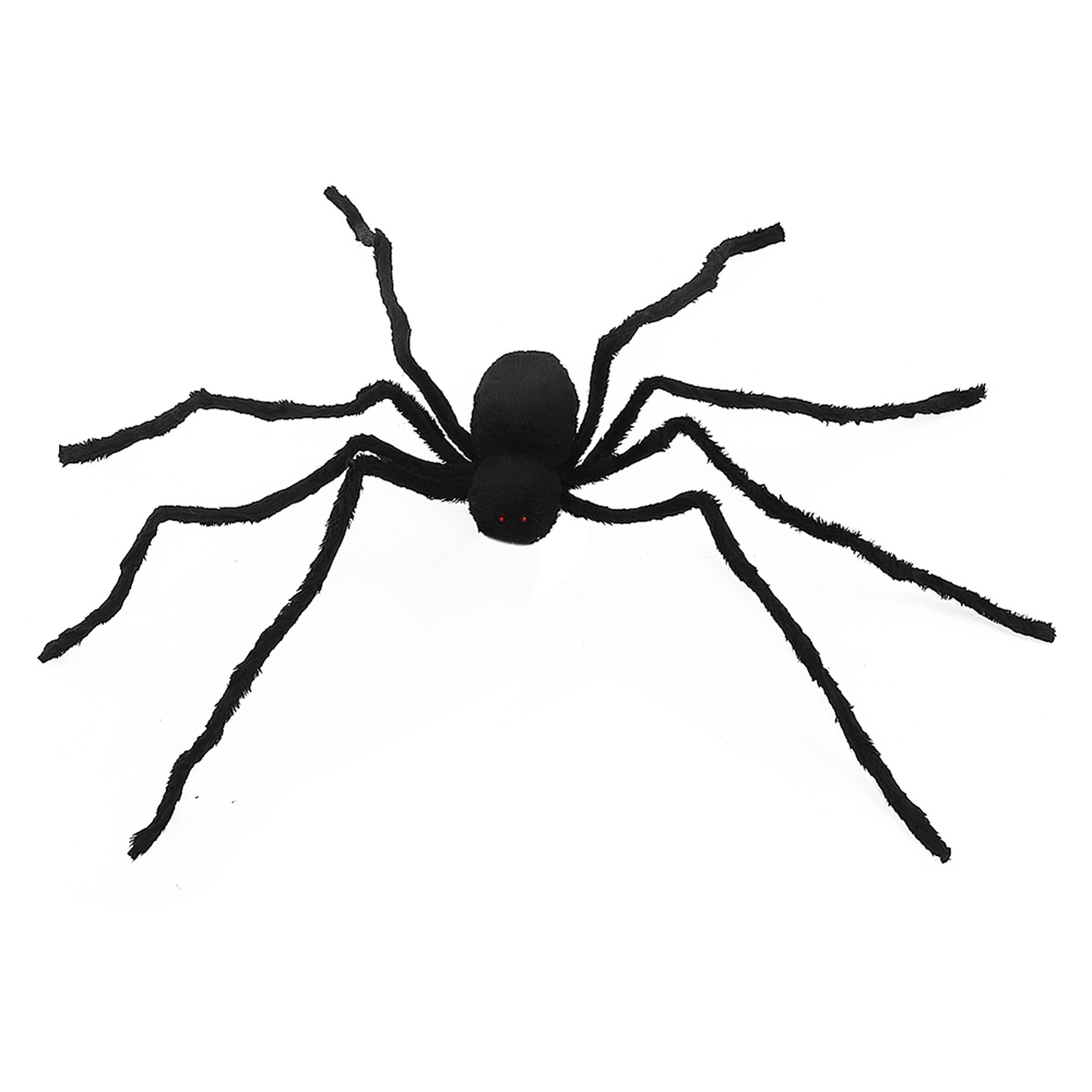 125cm Black Spider Halloween Props Spider Web Plush Cotton Haunted House Decoration Toys With OPP Bag