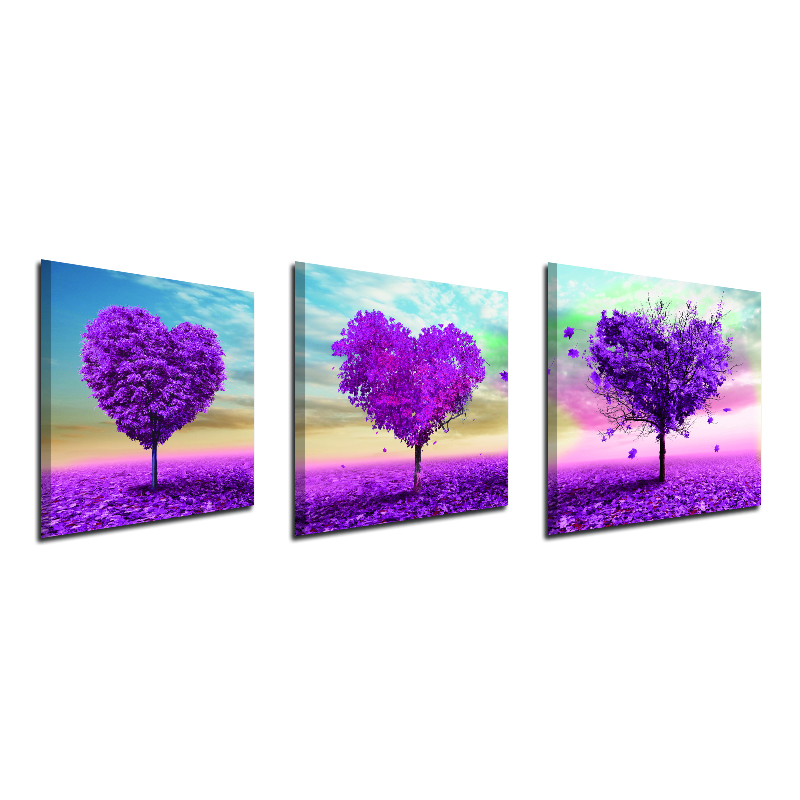 Miico Hand Painted Three Combination Decorative Paintings White Flower Wall Art For Home Decoration