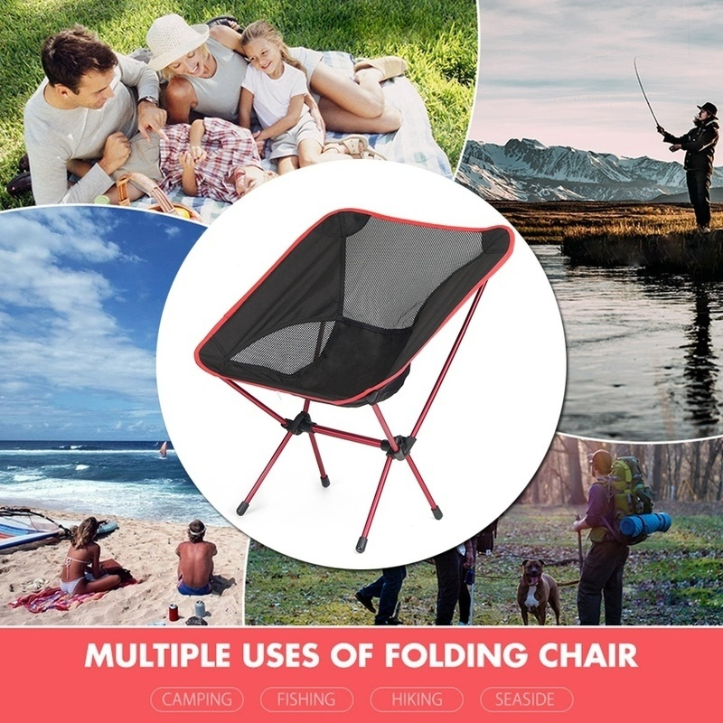 Outdoor Folding Chair Portable Camping Chairs Lightweight Folding Backpacking Chairs with Carry Bag for Outdoor, Camping, Fishing, Beach, Travel