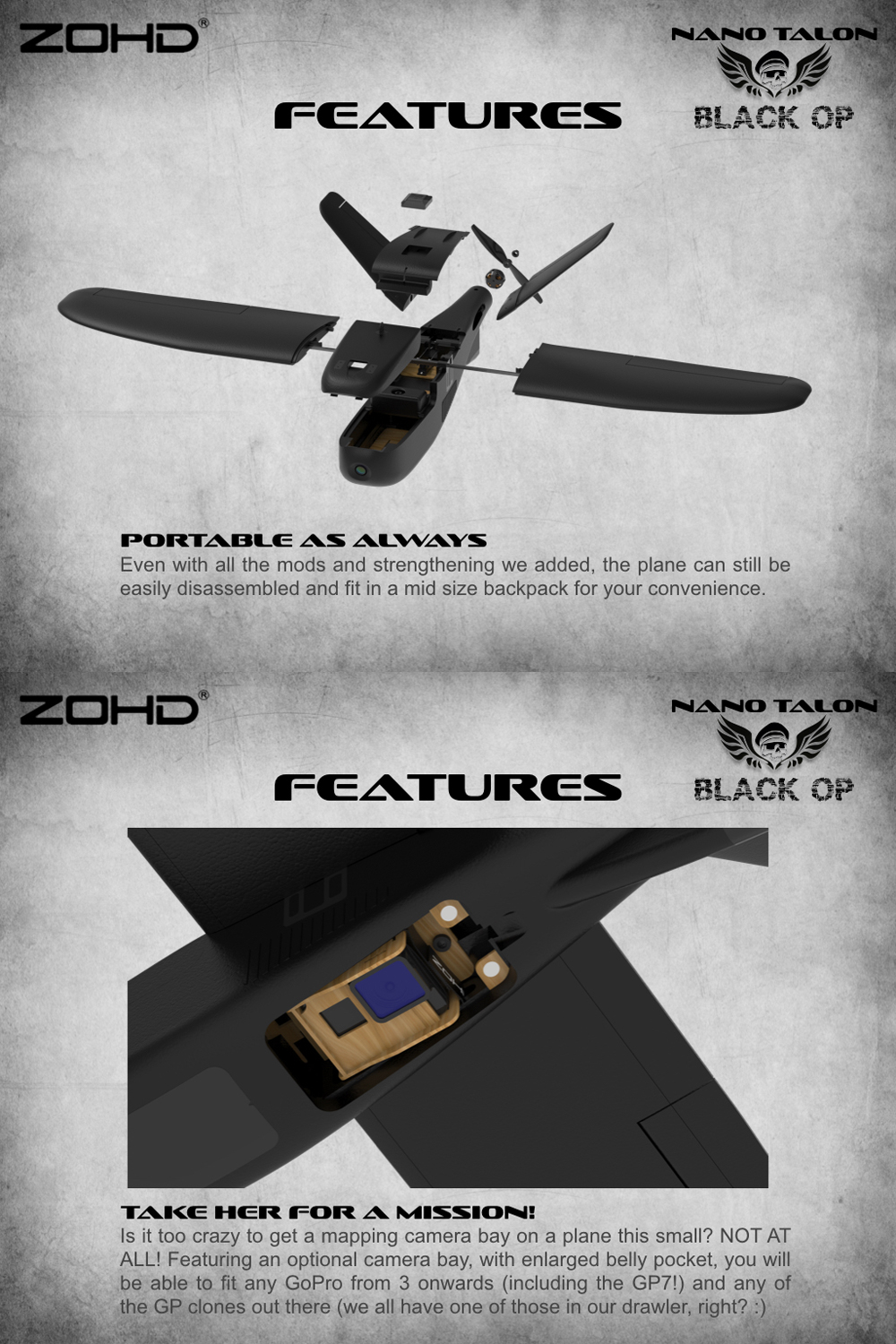 ZOHD Nano Talon Black OP 860mm Wingspan AIO V-Tail EPP FPV Wing RC Airplane PNP/With FPV Ready Limited Edition