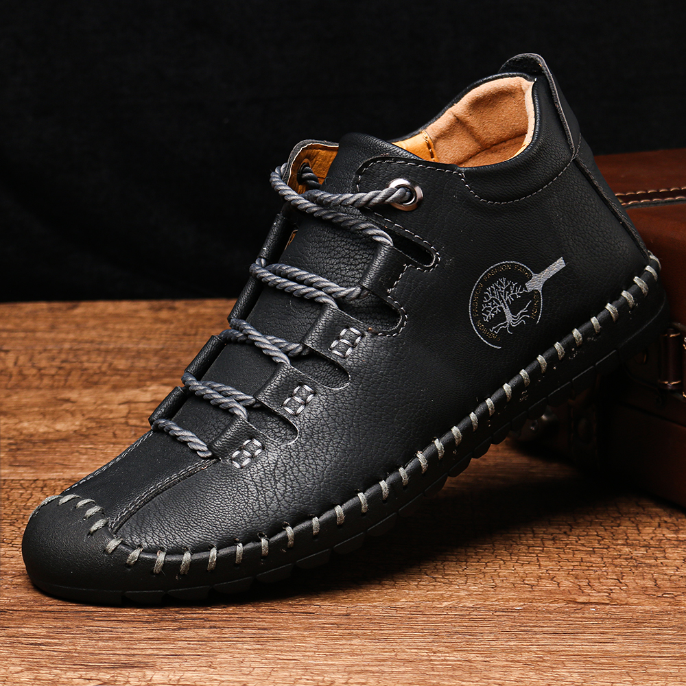 Casual Leather Hand Stitching Soft Business Ankle Boots