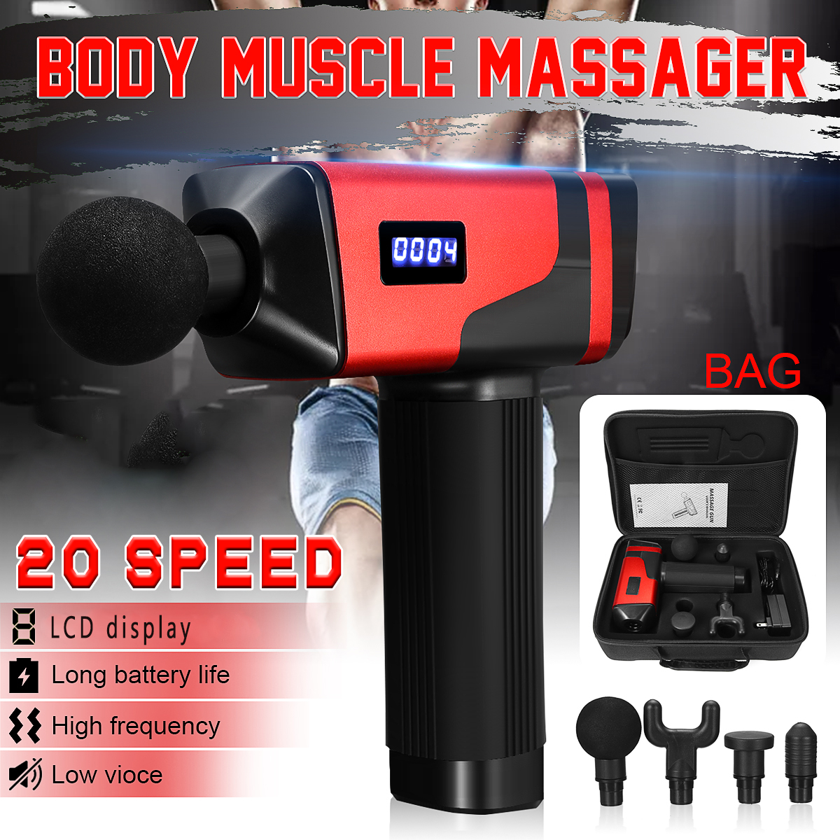 20-speed 110-240V Body Muscle Massager Outdoor Sports Fitness Fatigue Relief Electric Massager with 4 Massager Heads